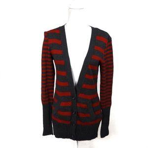 T682 American Eagle Cardigan Gray Red Stripe Wool